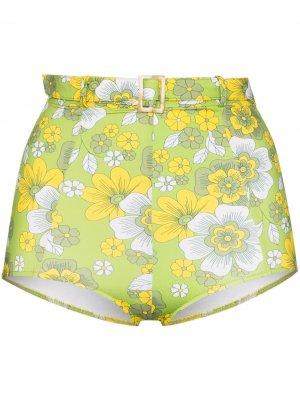 Плавки бикини Pamela с завышенной талией и цветочным принтом Dodo Bar Or. Цвет: зеленый