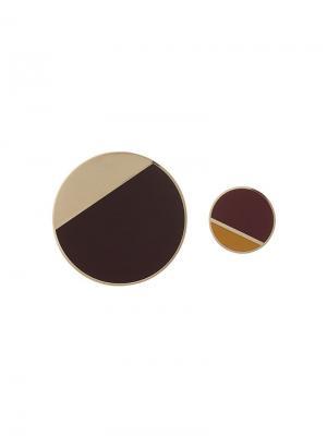 Асимметричные клипсы Lanvin. Цвет: коричневый