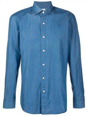 Однотонная джинсовая рубашка Finamore 1925 Napoli. Цвет: синий