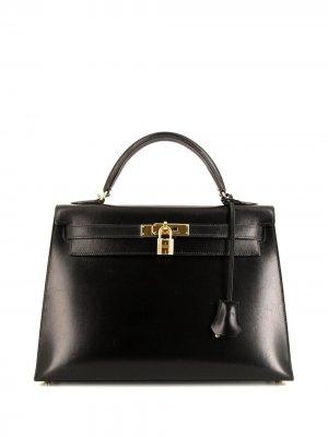 Сумка-тоут Kelly 32 pre-owned Hermès. Цвет: черный