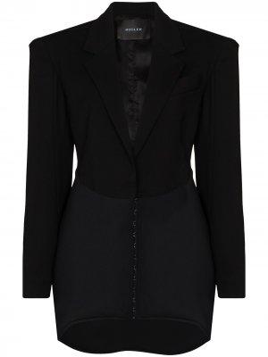 Платье-блейзер длины мини с контрастным подолом Mugler. Цвет: черный
