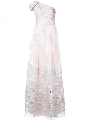 Платье на одно плечо с цветочным принтом Marchesa Notte. Цвет: розовый