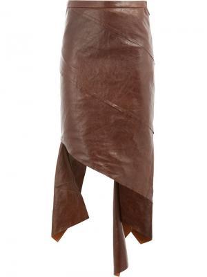 Кожаная асимметричная юбка Litkovskaya. Цвет: коричневый
