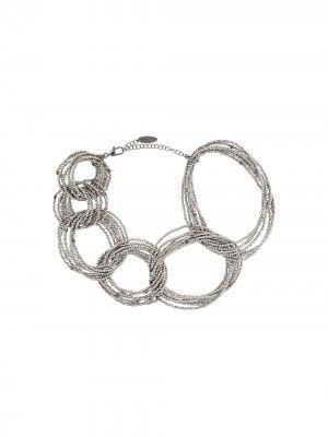 Bead-detail chain-link necklace Brunello Cucinelli. Цвет: серебристый