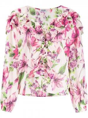 Блузка с оборками и цветочным принтом LIU JO. Цвет: розовый