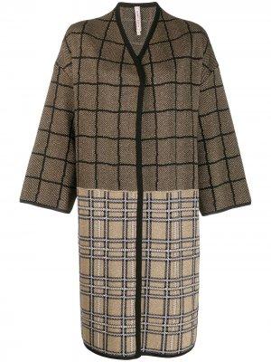Клетчатое пальто с контрастными вставками Antonio Marras. Цвет: золотистый