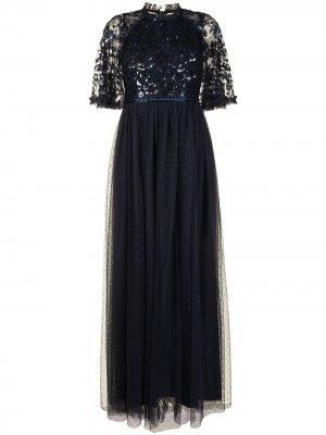 Вечернее платье с пайетками Needle & Thread. Цвет: синий