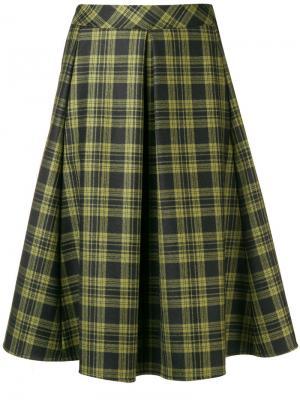 Юбка миди со складками в шотландскую клетку Ultràchic. Цвет: зеленый