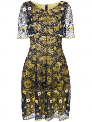 Кружевное платье Talbot Runhof. Цвет: разноцветный