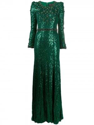 Платье с кристаллами и пайетками Jenny Packham. Цвет: зеленый