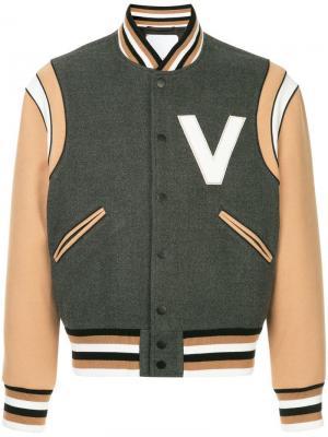 Куртка-бомбер с заплаткой V Ports. Цвет: серый