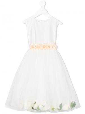 Платье с цветочной аппликацией Lesy. Цвет: белый