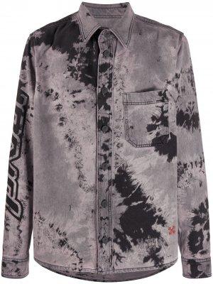 Джинсовая рубашка с принтом тай-дай Off-White. Цвет: серый
