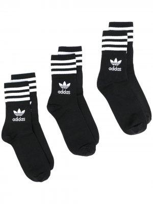 Комплект из трех пар носков Mid Cut Crew adidas. Цвет: черный