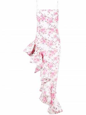 Floral-print ruffle-hem dress Giuseppe Di Morabito. Цвет: белый