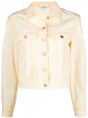 Укороченная куртка из вареного денима Alberta Ferretti. Цвет: желтый