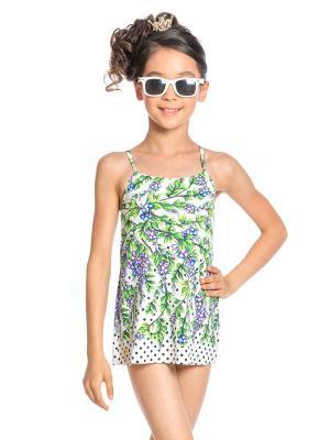 Купальник слитный для девочек Arina Festivita. Цвет: зеленый, белый, фиолетовый