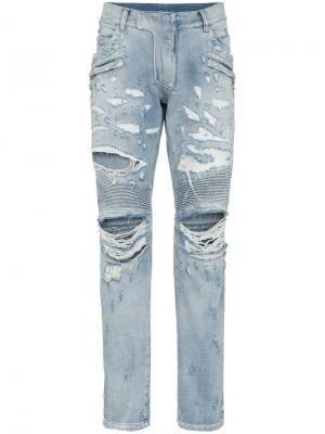 Байкерские джинсы узкого кроя с прорванными деталями Balmain. Цвет: синий