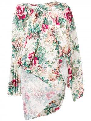 Асимметричная блузка с цветочным принтом Junya Watanabe. Цвет: белый