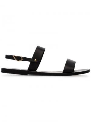 Black clio leather sandals Ancient Greek. Цвет: черный