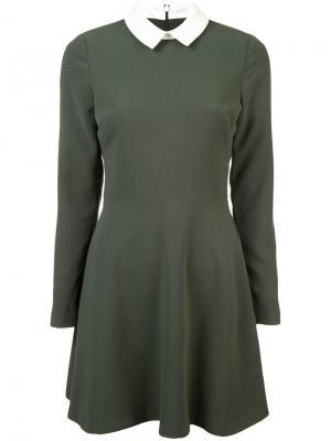 Платье миди с воротником Black Halo. Цвет: зеленый