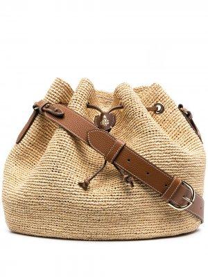 Плетеная сумка на плечо с кулиской Mark Cross. Цвет: нейтральные цвета
