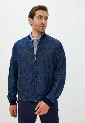 Куртка джинсовая Finn Flare. Цвет: синий