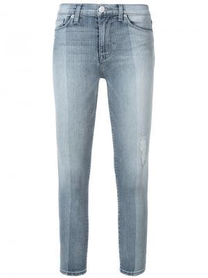 Укороченные джинсы скинни с высокой талией Hudson. Цвет: синий