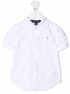 Рубашка Polo Pony с оборками Ralph Lauren Kids. Цвет: белый
