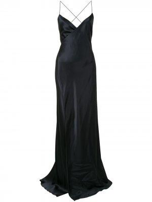 Платье на бретелях с запахом Michelle Mason. Цвет: черный