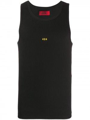 Топ без рукавов с вышитым логотипом 424. Цвет: черный