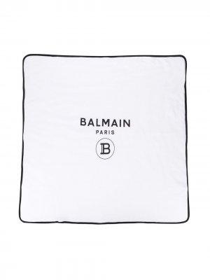 Конверт для новорожденного с логотипом Balmain Kids. Цвет: белый