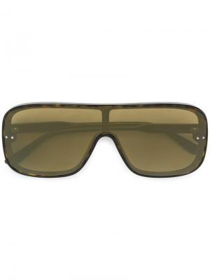 Солнцезащитные очки с эффектом черепашьего панциря Bottega Veneta Eyewear. Цвет: коричневый