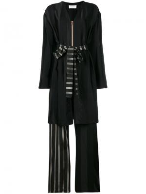 Длинный комбинезон с деталью в виде халата Esteban Cortazar. Цвет: черный
