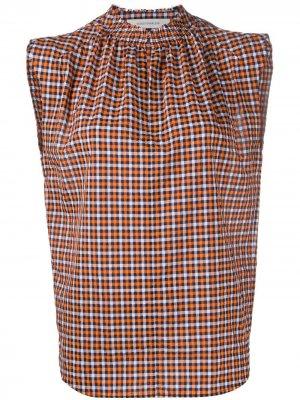 Клетчатая блузка без рукавов Cédric Charlier. Цвет: оранжевый