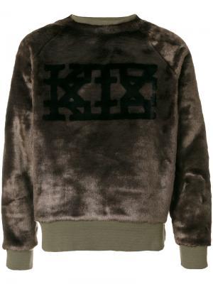 Толстовка из искусственного меха с логотипом KTZ. Цвет: зеленый