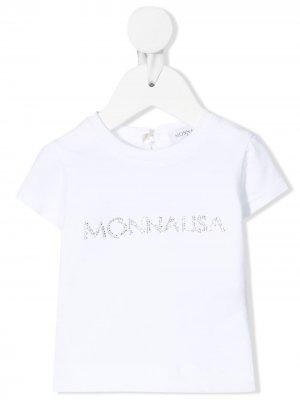 Футболка с логотипом из страз Monnalisa. Цвет: белый