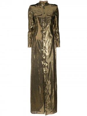 Платье-рубашка с пайетками Ralph Lauren Collection. Цвет: золотистый