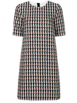 Платье-шифт с короткими рукавами Marni. Цвет: синий