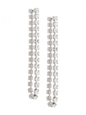 Длинные серьги с кристаллами Christopher Kane. Цвет: металлик
