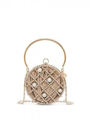 Бархатная мини-сумка Rosantica. Цвет: золотистый