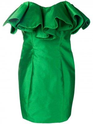 Короткое платье-бюстье структурного кроя The Attico. Цвет: зеленый