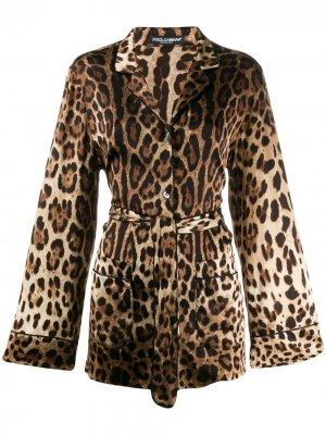 Пижамная рубашка с леопардовым принтом Dolce & Gabbana. Цвет: коричневый