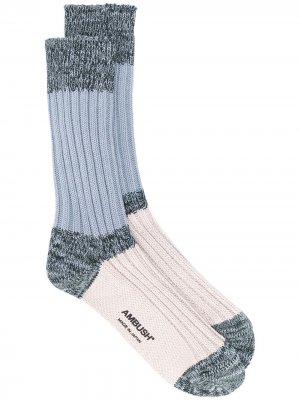 Носки в стиле колор блок AMBUSH. Цвет: синий