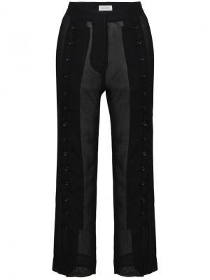 Укороченные прозрачные брюки Beau Souci. Цвет: черный