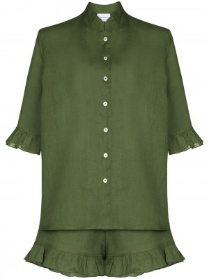 Пижама с оборками Sleeper. Цвет: зеленый