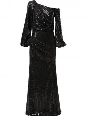 Платье с асимметричным рукавом и пайетками Badgley Mischka. Цвет: черный
