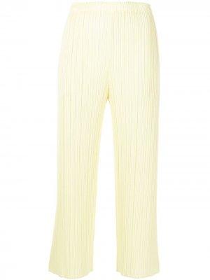 Плиссированные брюки прямого кроя Pleats Please Issey Miyake. Цвет: желтый