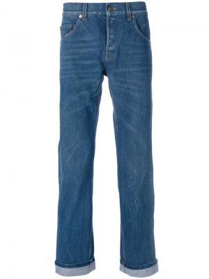 Зауженные джинсы с вышивкой Gucci. Цвет: синий