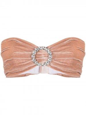 Топ-бандо с кристаллами Alessandra Rich. Цвет: розовый